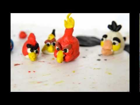 Angry Birds Plasticine Animation Cartoon, Ep.1 как лепить энгри бердз из пластилина